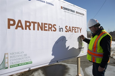 Ford, Christman/Brinker, Building and Construction Trades Council, and MIOSHA Take Safety Partnership to the Next Level for Workers at Michigan Central Station Renovation